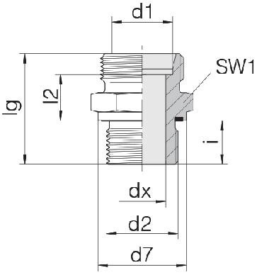 Соединение для труб штуцерное прямое коническое 24-SDS-S12-M22E