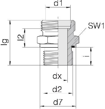 Соединение для труб штуцерное прямое коническое 24-SDS-L8-G3/4E