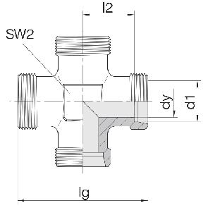 Соединение для труб проходное крестовое 24-K-LL4