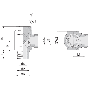 Соединение для труб поворотное угловое с эксцентриком 24-BEE-L6-M10B
