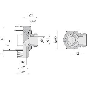 Соединение для труб поворотное угловое с эксцентриком 24-BEE-L6-M10E