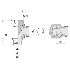 Соединение для труб поворотное угловое с эксцентриком 24-BEE-L6-G1/8B
