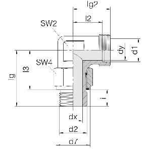 Соединение для труб регулируемое угловое с контргайкой 24-SDAE-L6-M10E