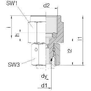 Соединение для манометра с уплонительным кольцом и гайкой 24-SWOPGS-L12-IG1/4B